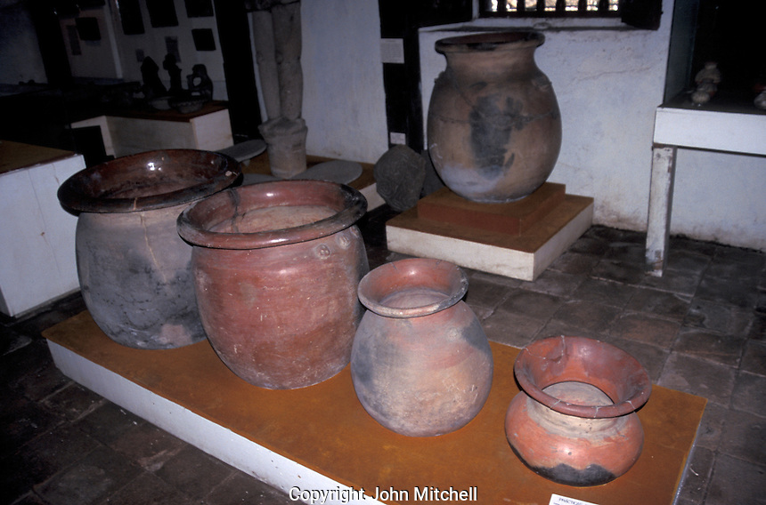 Pre-Columbian clay funeral urns on display in the  Museo de Historia y Arte Jose de Obaldia in the town of David, Chiriqui province, Panama
