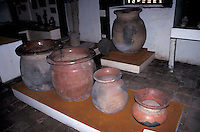 Pre-Columbian clay funeral urns on display in the  Museo de Historia y Arte Jose de Obaldia in the town of David, Chiriqui province, Panama