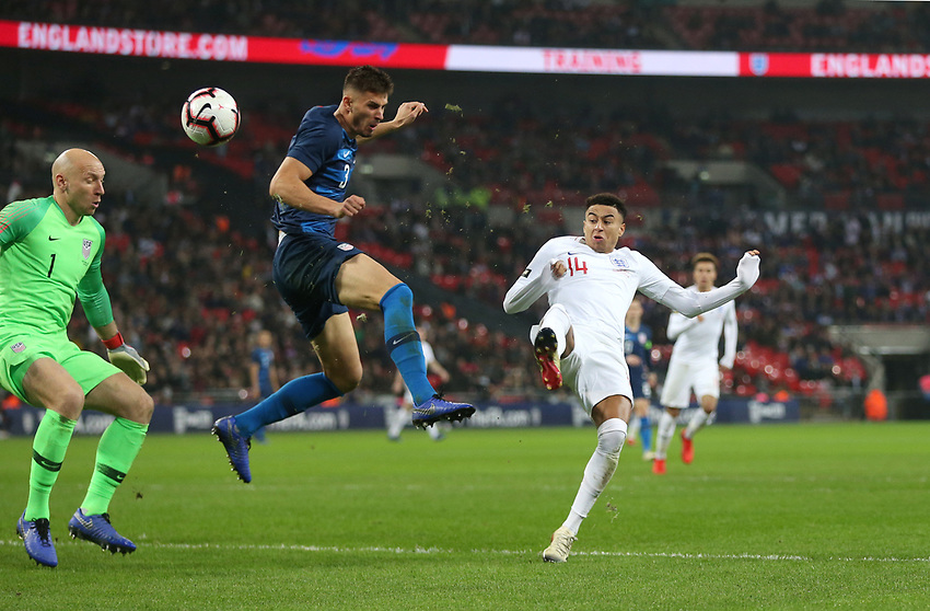England's Jesse Lingard goes close in the second half<br /> <br /> Photographer Rob Newell/CameraSport<br /> <br /> The Wayne Rooney Foundation International - England v United States - Thursday 15th November 2018 - Wembley Stadium - London<br /> <br /> World Copyright © 2018 CameraSport. All rights reserved. 43 Linden Ave. Countesthorpe. Leicester. England. LE8 5PG - Tel: +44 (0) 116 277 4147 - admin@camerasport.com - www.camerasport.com