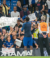 Callum Hudson-Odoi of Chelsea U23 throws his shirt to supporters during the Premier League 2 match between Chelsea U23 and Brighton & Hove Albion Under 23 at Stamford Bridge, London, England on 13 September 2019. Photo by Andy Rowland.