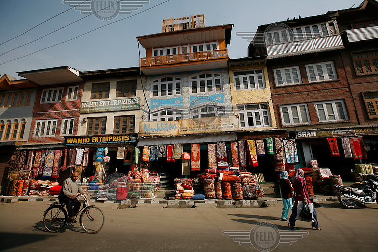 A string of carpet selling stores in Srinagar, Kashmir, India. © Fredrik Naumann/Felix Features