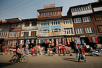 A string of carpet selling stores in Srinagar, Kashmir, India. © Fredrik Naumann/Felix Features