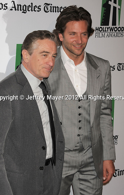 BEVERLY HILLS, CA - OCTOBER 22: Robert De Niro and Bradley Cooper arrive at the 16th Annual Hollywood Film Awards Gala presented by The Los Angeles Times held at The Beverly Hilton Hotel on October 22, 2012 in Beverly Hills, California.
