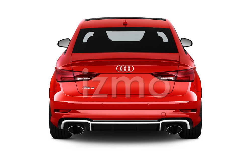 Straight rear view of 2018 Audi RS-3 4WD 4 Door Sedan Rear View  stock images