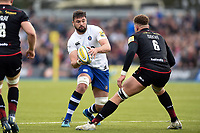 Elliott Stooke of Bath Rugby in possession. Aviva Premiership match, between Saracens and Bath Rugby on April 15, 2018 at Allianz Park in London, England. Photo by: Patrick Khachfe / Onside Images
