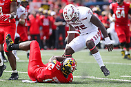 College Park, MD - September 15, 2018:  Temple Owls linebacker William Kwenkeu (35) stands over Maryland Terrapins tight end Chigoziem Okonkwo (17) during the game between Temple and Maryland at  Capital One Field at Maryland Stadium in College Park, MD.  (Photo by Elliott Brown/Media Images International)