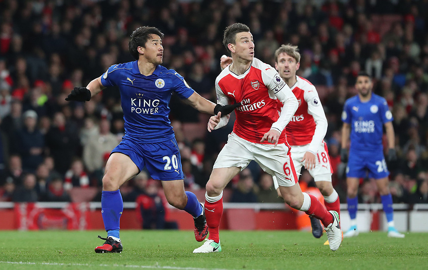 Leicester City's Shinji Okazaki in action during todays match<br /> <br /> Photographer Rachel Holborn/CameraSport<br /> <br /> The Premier League - Arsenal v Leicester City - Wednesday 26th April 2017 - Emirates Stadium - London<br /> <br /> World Copyright &copy; 2017 CameraSport. All rights reserved. 43 Linden Ave. Countesthorpe. Leicester. England. LE8 5PG - Tel: +44 (0) 116 277 4147 - admin@camerasport.com - www.camerasport.com