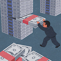 Businessman building stack of Dollar notes ExclusiveImage