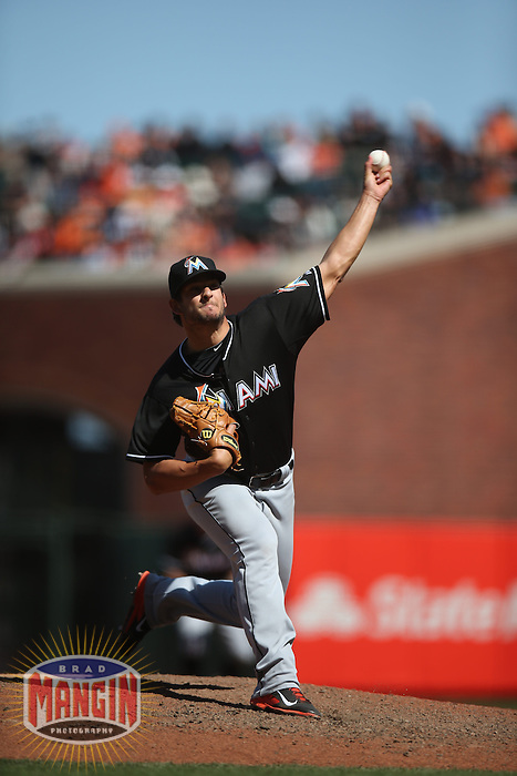 SAN FRANCISCO, CA - MAY 18:  Brad Hand #52 of the Miami Marlins pitches against the San Francisco Giants during the game at AT&T Park on Sunday, May 18, 2014 in San Francisco, California. Photo by Brad Mangin