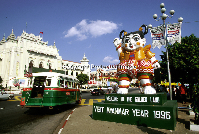 A sign welcoming tourists to Burma on December 21, 1996 in central Rangoon (Yangon) , Burma. They country is ruled by a military government who took power after they annuled democratic elections in 1988..(Photo: Per-Anders Pettersson/ Liaison Agency)