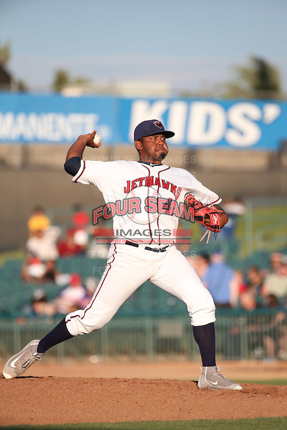 Rogelio Armenteros (41) of the Lancaster JetHawks pitches against the Bakersfield Blaze at The Hanger on June 18, 2016 in Lancaster, California. Bakersfield defeated Lancaster, 10-7. (Larry Goren/Four Seam Images)