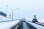 Drivers taking extra care in the snow past average speed cameras on the A9<br /> <br /> Image by: Malcolm McCurrach<br /> Fri, 19, December, 2014 |  &copy; Malcolm McCurrach 2014 |  Insertion and use fees apply |  All rights Reserved. picturedesk@nwimages.co.uk | www.nwimages.co.uk | 07743 719366