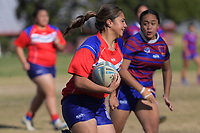 Eternity Matatia (Otara) during the Auckland Rugby League Girls Pilot under-17 match between Otara Scorpions and Richmond at Ngati Otara Park in Auckland, New Zealand on Saturday, 9 June 2018. Photo: Dave Lintott / lintottphoto.co.nz