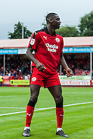 Enzio Boldewijn of Crawley Town (7) Celebrates scoring his sides second goal and match winner   during the Sky Bet League 2 match between Crawley Town and Luton Town at the Broadfield/Checkatrade.com Stadium, Crawley, England on 17 September 2016. Photo by Edward Thomas / PRiME Media Images.