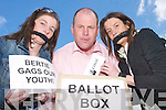 Fine Gael South Kerry Candidate Seamus Cosai MacGearailt who is protesting  against the General Election taking place on a Thursday as college students wont be able to vote. L/R: Mary Barton, Castlemaine, Seamus Cosai MacGearailt and Rosin Griffin, Ballyfinane..