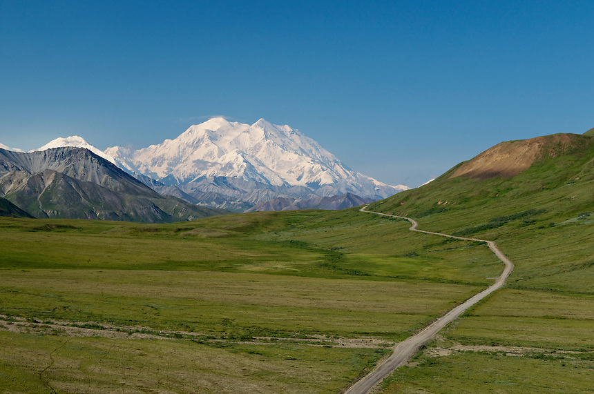 View of Mount McKinley (20,320 ft) on a clear day from Stony Dome at mile 62 of the Park Road, Denali National Park and Preserve, Alaska, United States.