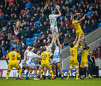 24th November 2019; AJ Bell Stadium, Salford, Lancashire, England; European Champions Cup Rugby, Sale Sharks versus La Rochelle; Bryn Evans of Sale Sharks wins a line out - Editorial Use