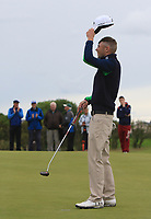 Reece Black (Hilton Templepatrick) putts to win on the 18th green during Round 4 of the East of Ireland Amateur Open Championship at Co. Louth Golf Club in Baltray on Monday 5th June 2017.<br /> Photo: Golffile / Thos Caffrey.<br /> <br /> All photo usage must carry mandatory copyright credit     (&copy; Golffile | Thos Caffrey)