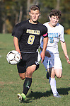 BEACON FALLS  CT. - 15 October 2019-101519SV10- #8 Cole Barrows of Woodland High keeps the ball from #3 Ryan King of Oxford High during NVL soccer action in Beacon Falls Tuesday.<br /> Steven Valenti Republican-American