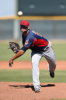 Cleveland Indians pitcher Elvis Araujo (54) during an Instructional League game against the Seattle Mariners on October 1, 2014 at Goodyear Training Complex in Goodyear, Arizona.  (Mike Janes/Four Seam Images)