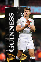 Pictured: Owen Farrell of England looks dejected at full time during the Guinness six nations match between Wales and England at the Principality Stadium, Cardiff, Wales, UK.<br /> Saturday 23 February 2019
