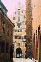 Bernhard Hoetger: Bottcherstrasse--looking to the Roselius Haus, the only medieval house in the complex. Photo '87.
