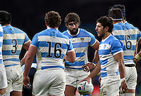 Juan Martin Fernandez Lobbe of Argentina speaks to his team-mates during a break in play. Rugby World Cup Semi Final between Argentina v Australia on October 25, 2015 at Twickenham Stadium in London, England. Photo by: Patrick Khachfe / Onside Images