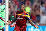 09 August 2014: Salt Lake's Joao Plata (ECU) reacts after scoring the game's first goal past DC United's Bill Hamid (in green). Real Salt Lake hosted DC United at Rio Tinto Stadium in Sandy, Utah in a 2014 Major League Soccer regular season game.