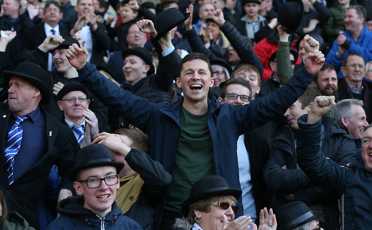 Preston North End celebrate their teams only goal in a 4-1 defeatPreston North End fans enjoy their annual Gentry Day <br /> <br /> Photographer Stephen White/CameraSport<br /> <br /> The EFL Sky Bet Championship - West Bromwich Albion v Preston North End - Saturday 13th April 2019 - The Hawthorns - West Bromwich<br /> <br /> World Copyright © 2019 CameraSport. All rights reserved. 43 Linden Ave. Countesthorpe. Leicester. England. LE8 5PG - Tel: +44 (0) 116 277 4147 - admin@camerasport.com - www.camerasport.comPreston North End fans enjoy their annual Gentry Day