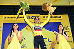Race leader Greg Van Avermaet (BEL) BMC racing Team retains the Yellow Jersey at the end of Stage 10 of the 2018 Tour de France running 158.5km from Annecy to Le Grand-Bornand, France. 17th July 2018. <br /> Picture: ASO/Alex Broadway | Cyclefile<br /> All photos usage must carry mandatory copyright credit (&copy; Cyclefile | ASO/Alex Broadway)