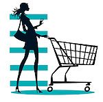 Young woman in silhouette pushing shpping trolley