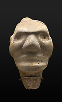 Effigy Head, used as funerary offering for chieftains, thought to be somehow related to the 3-pointed idols, with facial features of the Taino and Macorix, who practiced cranial deformation, in the Museo Arqueologico Regional Altos de Chavon, in Altos de Chavon, a recreated European village built 1976-82 in La Romana, Dominican Republic, in the Caribbean. The museum was opened in 1981 and is part of the Altos de Chavon Cultural Center Foundation, housing a collection of indigenous objects donated by Samuel Pion. Picture by Manuel Cohen