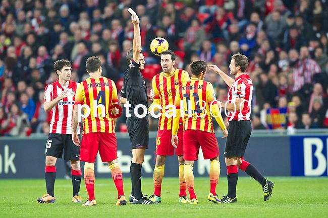 BILBAO.ESPAÑA.FÚTBOL.<br /> Partido de La Liga BBVA entre el Ath.Club y el Barça , a 01/12/2013.<br /> En la imagen :<br /> 4Cesc Fabregas (FC Barcelona)<br /> 18Carlos Gurpegi (Athletic Bilbao)