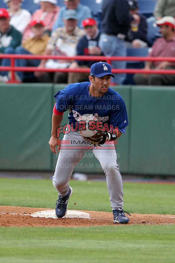 Los Angeles Dodgers Nomar Garciaparra during a Grapefruit League Spring Training game at Spacecoast Stadium on March 19, 2007 in Melbourne, Florida.  (Mike Janes/Four Seam Images)
