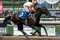 ARCADIA, CA  APRIL 7:  #3 Heck Yeah, ridden by Mike Smith, wins the Echo Eddie Stakes on April 7, 2018 at Santa Anita Park Arcadia, CA.(Photo by Casey Phillips/ Eclipse Sportswire/ Getty Images)