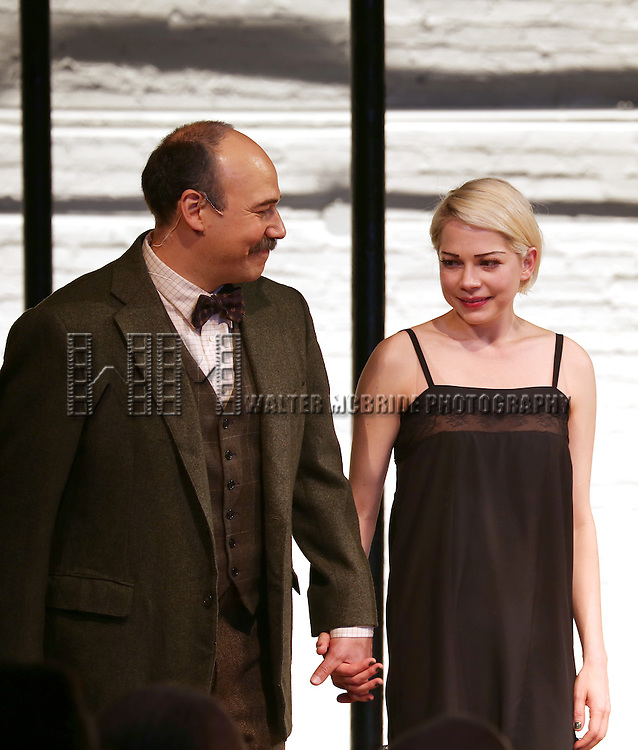 Danny Burstein and Michelle Williams during the Broadway Opening Night Performance Curtain Call for 'Cabaret' at Studio 54 on April 24, 2014 in New York City.