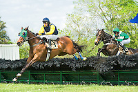 21 April 2012:   Brave Prospect and Xavier Aizpuru win the Glenwood Hurdle at Middleburg Spring Races at Glenwood Park in Middleburg, Va. Orebanks and Jeff Murphy finished second.  Brave Prospect is owned by Woodslane Farm and trained by Jack Fisher.  Susan M. Carter/Eclipse Sportswire