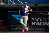 during the Under Armour All-America Game Practice, powered by Baseball Factory, on July 21, 2019 at Les Miller Field in Chicago, Illinois.   attends  in  and is committed to .  (Mike Janes/Four Seam Images)