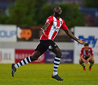 Exeter City's Hiram Boateng celebrates scoring his sides second goal<br /> <br /> Photographer Andrew Vaughan/CameraSport<br /> <br /> The EFL Sky Bet League Two Play Off Second Leg - Exeter City v Lincoln City - Thursday 17th May 2018 - St James Park - Exeter<br /> <br /> World Copyright &copy; 2018 CameraSport. All rights reserved. 43 Linden Ave. Countesthorpe. Leicester. England. LE8 5PG - Tel: +44 (0) 116 277 4147 - admin@camerasport.com - www.camerasport.com