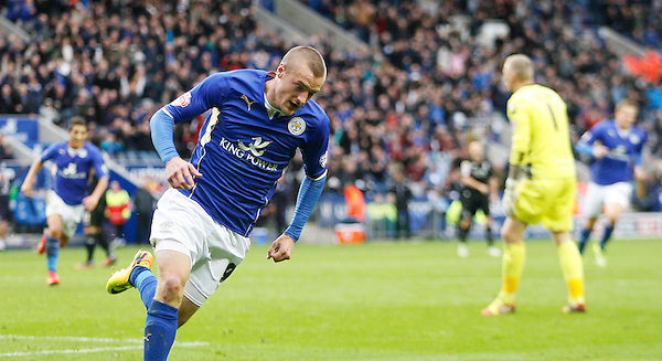Leicester City's Jamie Vardy celebrates scoring his sides second goal <br /> <br /> Photo by Jack Phillips/CameraSport<br /> <br /> Football - The Football League Sky Bet Championship - Leicester City v Bournemouth - Saturday 26th October 2013 - King Power Stadium - Leicester<br /> <br /> &copy; CameraSport - 43 Linden Ave. Countesthorpe. Leicester. England. LE8 5PG - Tel: +44 (0) 116 277 4147 - admin@camerasport.com - www.camerasport.com
