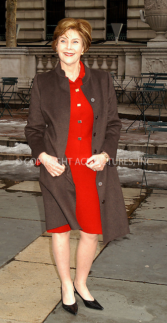 First Lady Laura Bush arrives at New York Fashion Week. New York City. February 09 2004. Please byline: AJ SOKALNER/ACE Pictures.   ..*PAY-PER-USE*      ....IMPORTANT: Please note that our old trade name, NEW YORK PHOTO PRESS (NYPP), is replaced by new name, ACE PICTURES. New York Photo Press and ACE Pictures are owned by All Celebrity Entertainment, Inc.......All Celebrity Entertainment, Inc:  ..contact: Alecsey Boldeskul (646) 267-6913 ..Philip Vaughan (646) 769-0430..e-mail: info@nyphotopress.com