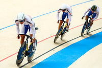 Picture by Alex Whitehead/SWpix.com - 09/12/2017 - Cycling - UCI Track Cycling World Cup Santiago - Velódromo de Peñalolén, Santiago, Chile - Republic of Korea's Chaebin Im, Jeone Park and Jeyong Son during the Men's Team Sprint Bronze medal final.