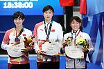 (L-R) <br /> Li Bingjie, <br /> Jianjiahe wang (CHN),  <br /> €Waka Kobori (JPN), <br /> AUGUST 19, 2018 - Swimming : <br /> Women's 1500m Freestyle Medal celemony <br /> at Gelora Bung Karno Aquatic Center <br /> during the 2018 Jakarta Palembang Asian Games <br /> in Jakarta, Indonesia. <br /> (Photo by Naoki Nishimura/AFLO SPORT)