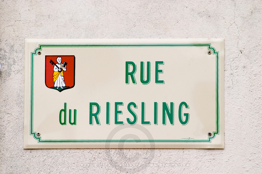 street sign rue du riesling eguisheim alsace france