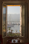 Corsica, France, Calvi, French Cafe; Coastal towns in Corsica, Haute Corse, Mediterranean Coast, Europe,.