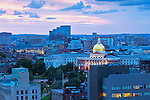 Massachusetts State House, and its famous gold covered dome, is the state capitol in the Beacon Hill neighborhood of Boston, MA.