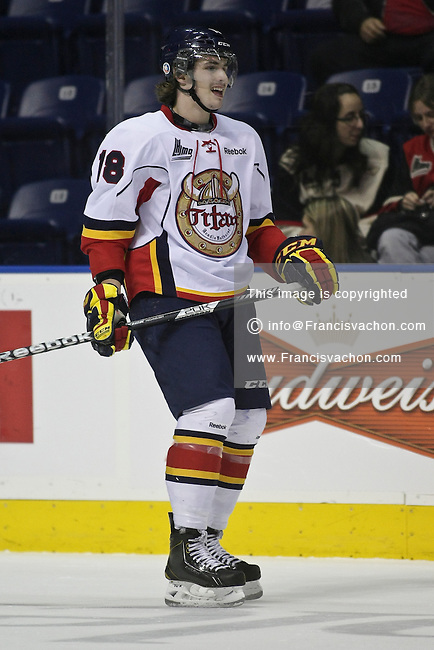QMJHL (LHJMQ) hockey profile photo on Acadie-Bathurst Titan Alexandre Gosselin November 21, 2012 at the Colisee Pepsi in Quebec city.