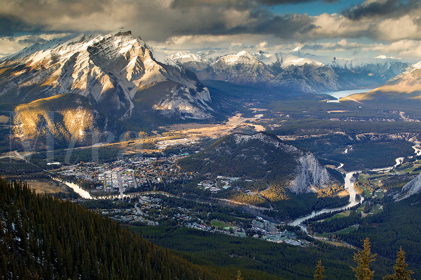 The town of Banff viewed from the Banff Gondola, Banff National Park, Alberta, Canada