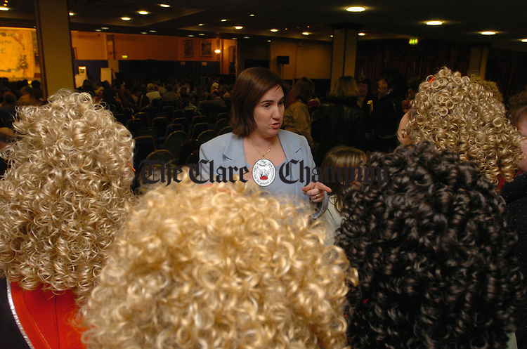 Tutor, Lisa Chaplin of Boston has a team talk with her charges before competing at the All-Ireland dancing championships at the West County Hotel. Photograph by John Kelly.