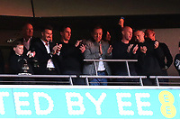 David Beckham, Gary Neville, Peter Lim, Nicky Butt and Ryan Giggs applaud the Salford City team as they get ready hold the Trophy aloft after winning the Play-Off Final during AFC Fylde vs Salford City, Vanarama National League Football Promotion Final at Wembley Stadium on 11th May 2019